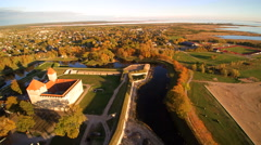 The beautiful aerial shot of the city of Saaremaa Stock Footage