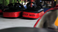 Muay Thai Boxing Kicking Training Pads On Gym Ring Canvas Stock Footage