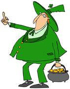 Leprechaun flipping the bird - stock illustration