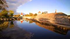 The lake on the side of the Kuressaare castle Stock Footage