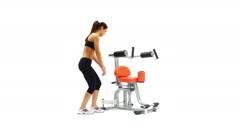 Athletic brunette on isodynamic exerciser Stock Footage
