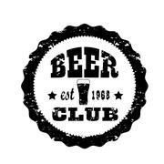 Retro banner cap. Beer club. Vector illustration - stock illustration