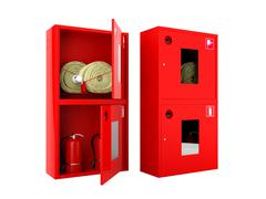 Red fire hose  and fire extinguisher cabinets on white background - stock illustration