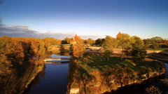 The clear lake on the side of the castle in Saaremaa Stock Footage