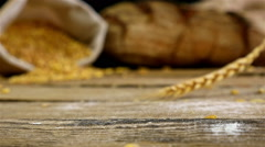 Golden wheat stems falling, slow motion Stock Footage