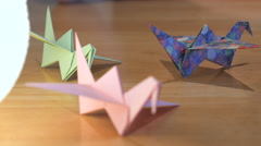 Paper Cranes in Different Colours Stock Footage