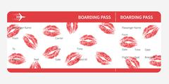 boarding pass lips - stock illustration