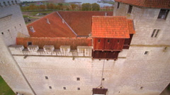 The white brick-walls of the Kuressaare castle Stock Footage