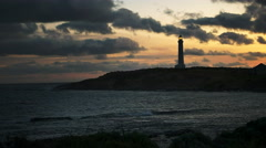 Wide angle shot of cape leeuwin lighthouse at sunset Stock Footage