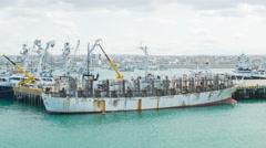 Fishing Freighter Ships in Manta Ecuador Stock Footage