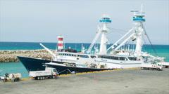 Expedition Ships Docked in Manta Ecuador Stock Footage