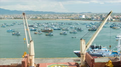 Manta Ecuador Harbour with Fishing Boats Stock Footage