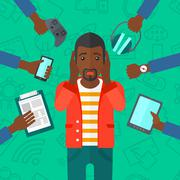 Desperate man with gadgets Stock Illustration