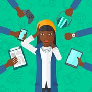 Desperate woman with gadgets Stock Illustration