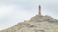 Salaverry Peru Lighthouse Close-up on a Sandy Mountain Top Stock Footage