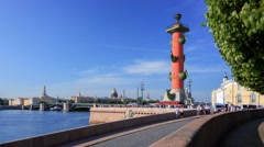 Rostral column in Saint Petersburg Stock Footage