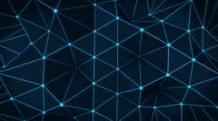 Polygonal glowing blue surface. Abstract 3D render loop 4k UHD (3840x2160) Stock Footage