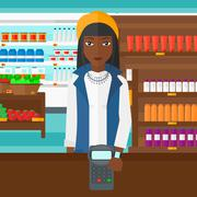 Woman paying with smart watch - stock illustration