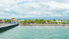 Puntarenas Costa Rica Cruise Ship Pier with Beach Stock Footage