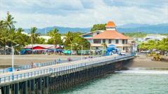 Puntarenas Costa Rica Cruise Ship Pier with People Walking Stock Footage
