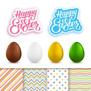 Happy Easter greeting cards creation kit - stock illustration