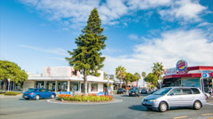 Tauranga NZ Town Center Roundabout with Cars Driving Stock Footage