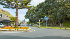 Tauranga NZ Maunganui Road with Mount and Drury Reserve Background Stock Footage