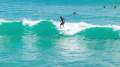 Surfing Close-up Action in Tauranga New Zealand Stock Footage