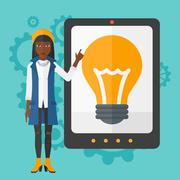 Woman pointing at tablet computer with light bulb on screen Stock Illustration