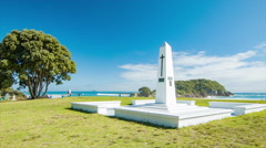 Tauranga NZ Memorial Landmark Next to Main Beach Stock Footage