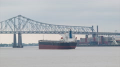 Generic Oil Freighter Ship on Mississippi River Stock Footage