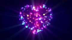 Colorful heart shape disco flashing loopable animation 4k (4096x2304) Stock Footage