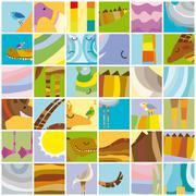 African Animals Random Color Collage Stock Illustration