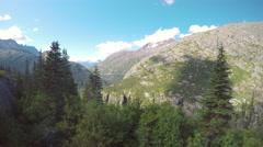 White Pass and Yukon Route Railroad Mountain Scenery Towards Skagway Stock Footage