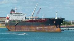 Big Generic Oil Tanker Closeup in Port of Galveston Bay Texas Stock Footage