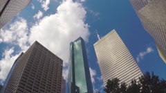 Houston Texas Looking Up to Tall Downtown Skyscrapers Stock Footage