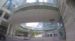 Houston Texas Circular Skywalk in Downtown Stock Footage
