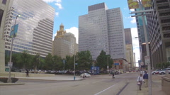 City Intersection Scene in Downtown Houston Texas Stock Footage