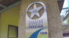 Houston TX Theater Parking Sign Close-up Stock Footage