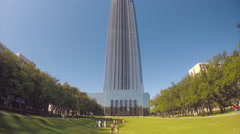 Williams Tower and Park Wide Shot in Houston Texas Stock Footage