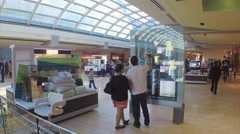 Houston TX Galleria Mall Interior People Looking at Information Signage Stock Footage