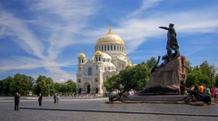 The monument to Admiral Makarov and Naval Cathedral in Kronstadt Stock Footage