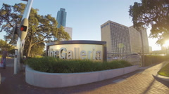 Houston TX The Galleria Mall Exterior Signage Sidewalk Wide Stock Footage