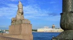 Sphinx on the University Embankment in St.Petersburg Stock Footage