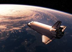 Space Shuttle Orbiting Earth - stock illustration