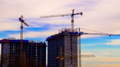 Crane Working in Construction Site Stock Footage