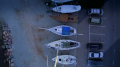 Boat and cars parked on the Maritime museum Stock Footage