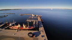 Aerial view of the seaplane harbor in Kopli Stock Footage