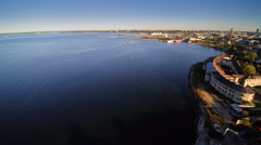 Aerial shot of the wide sea near of the harbor Stock Footage