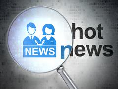 News concept: Anchorman and Hot News with optical glass - stock illustration